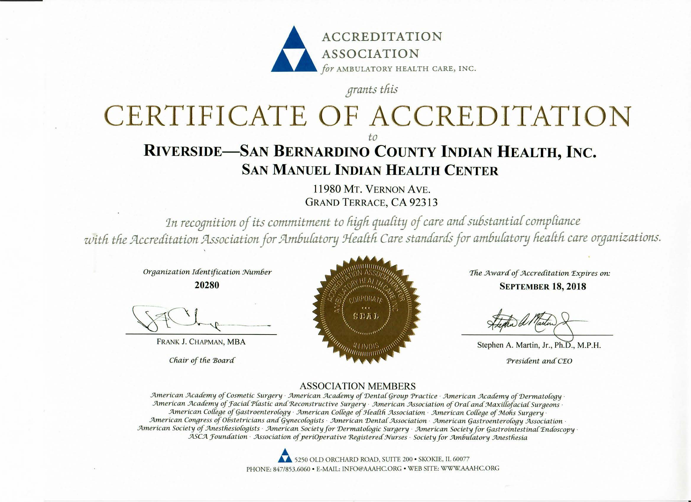 AAAHC Accreditation Notice 2015